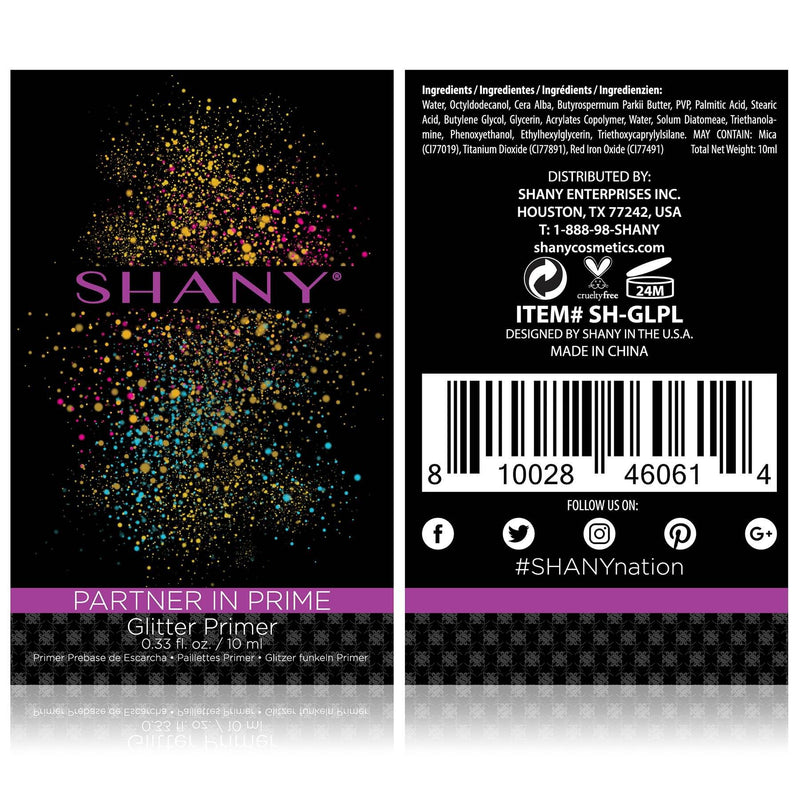 SHANY Partner In Prime Glitter Primer - Lightweight/Sticky Glitter Makeup Base -  - ITEM# SH-GLPL - The SHANY Partner in Prime lightweight liquid glitter primer is perfect to lock your glitter makeup in place, whether you're applying on your body, eyes, face or lips. Create a long-lasting bond with you and your gl