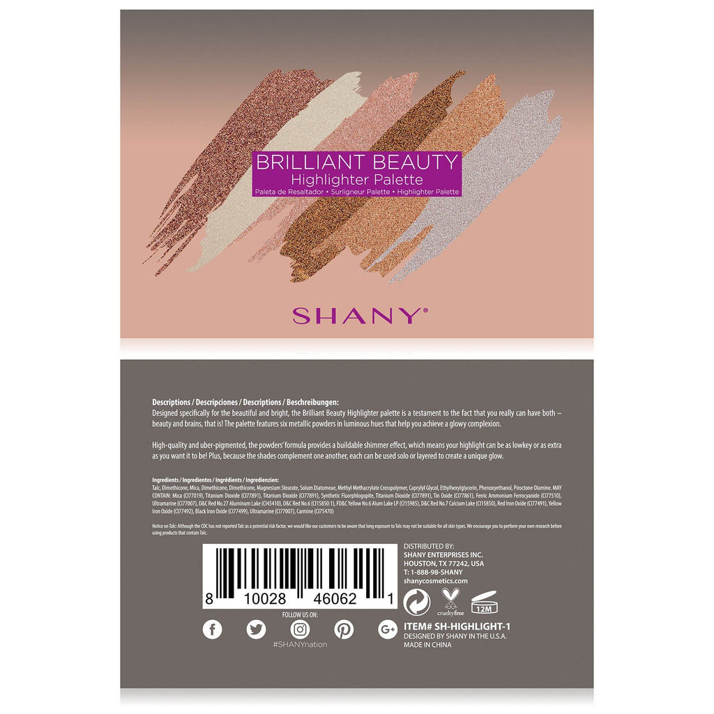 SHANY Brilliant Beauty 6-Color Highlighter Palette -  - ITEM# SH-HIGHLIGHT-1 - Concealer makeup palette stick light cream powder,Makeup highlighter stick morphe palette,Bare minerals revlon loreal maybelline neutrogena,Concealer makeup palette stick light cream powder,Brightening talc free liquid finish full coverage - UPC# 810028460621