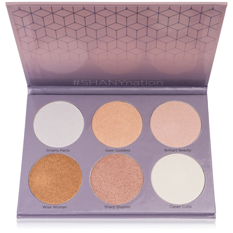 SHANY Brilliant Beauty Highlighter Palette - Six Illuminating Face Powders -  - ITEM# SH-HIGHLIGHT-1 - The SHANY Brilliant Beauty Highlighter Palette houses six long-lasting and illuminating face powders to enhance every skin tone. This luminous face palette contains shimmering pressed powders that are as bright as yo