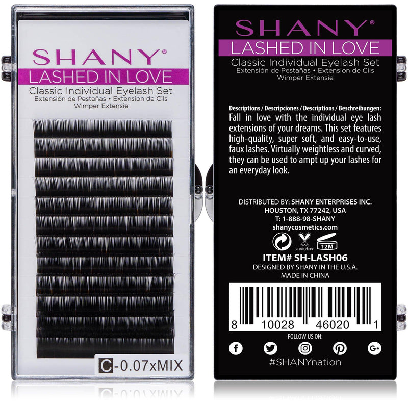 SHANY Lashed in Love Classic Individual Eyelash Set - 0.07mm - BLACK - BLACK - ITEM# SH-LASH06 - SHANY Lashed in Love Classic Individual Eyelash Set is perfect for livening up your bare lashes. This set includes individual 3D voluminous and weightless faux mink lashes that are perfect for various eye lash extensions.