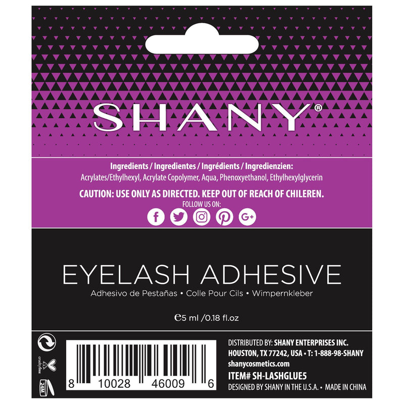 SHANY Professional Eyelash Adhesive - Long-Lasting Latex-Free Lash Glue -  - ITEM# SH-LASHGLUE5 - The SHANY Professional Eyelash Adhesive in CLEAR is a long-lasting lash glue with a latex-free formula. This formula is safe on skin and can be applied using the convenient brush tip applicator. Applicator allows for the