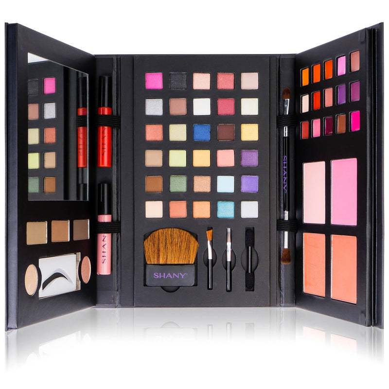 SHANY Luxe Book Makeup Set - All In One Travel Cosmetics Kit with 30 Eyeshadows,  15 Lip Colors, 5 Brushes, 4 Pressed Blushes, 3 Brow Colors, and Mirror - SHOP  - MAKEUP SETS - ITEM# SH-LUXBOOK-A