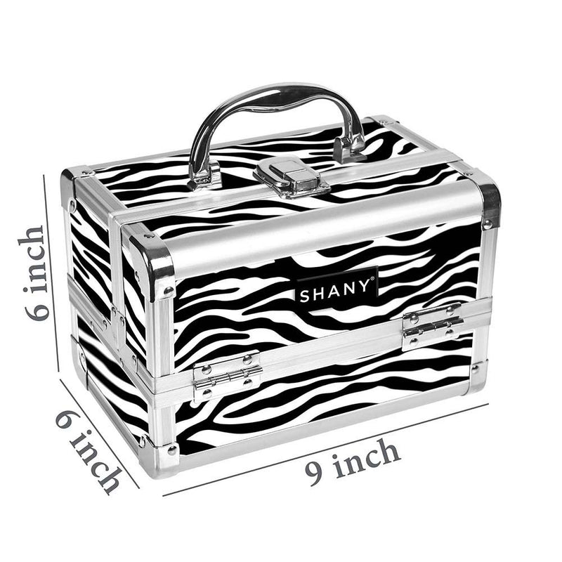 SHANY Mini Makeup Train Case With Mirror - BLACK/SILVER - ITEM# SH-M1001-ZB - Best seller in cosmetics MAKEUP TRAIN CASES category
