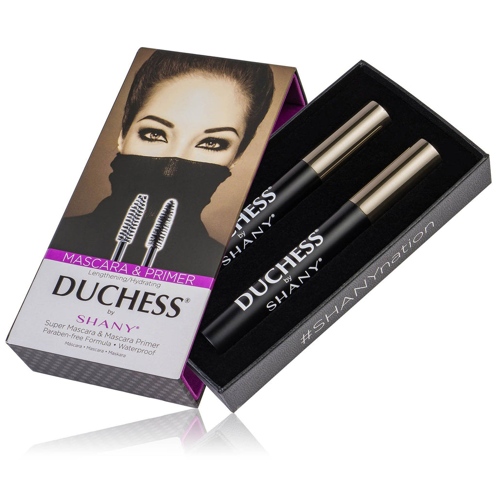 DUCHESS by SHANY 2-Piece Waterproof Mascara Set -  - ITEM# SH-MAS-1 - Mascara colossal eyelash smudge proof makeup tube,Collagen Plumping volumizer black mascara gift set,Color brown green purple blue dark Mascara kit set,Washable Voluminous French mascara primer eyeliner,4D Silk Fiber eye Lash Smudge-Proof Volume Makeup - UPC# 616450439613