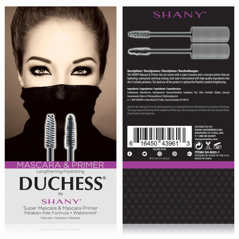 DUCHESS by SHANY 2-Piece Waterproof Mascara Set with Paraben-Free Formula -  - ITEM# SH-MAS-1 - The DUCHESS by SHANY Waterproof Mascara Set is a collection of a Super Mascara and Mascara Primer. Each mascara is lengthening and hydrating with a paraben-free formula. The mascara primer helps to build lashes evenly, as w