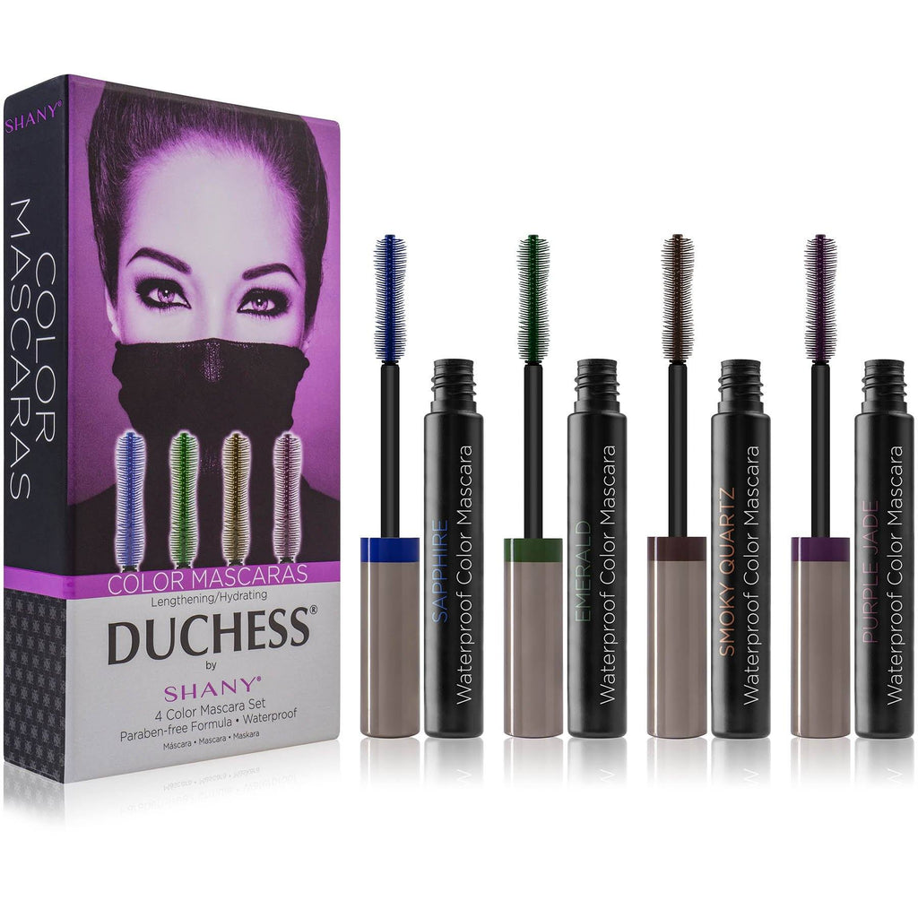 DUCHESS by SHANY 4-Piece Water Proof Color Mascara Set - Lengthening and Hydrating Paraben-Free Mascaras in Blue, Green, Brown and Purple Shades - SHOP  - BROWS & LASHES - ITEM# SH-MAS-2