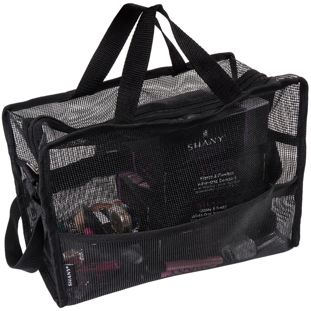 SHANY Collapsible Mesh Bag – Large See-Thru Travel Tote with Shoulder Straps – Water-Resistant with Zippered Pockets – Black - SHOP  - MESH BAGS - ITEM# SH-MB200-BK