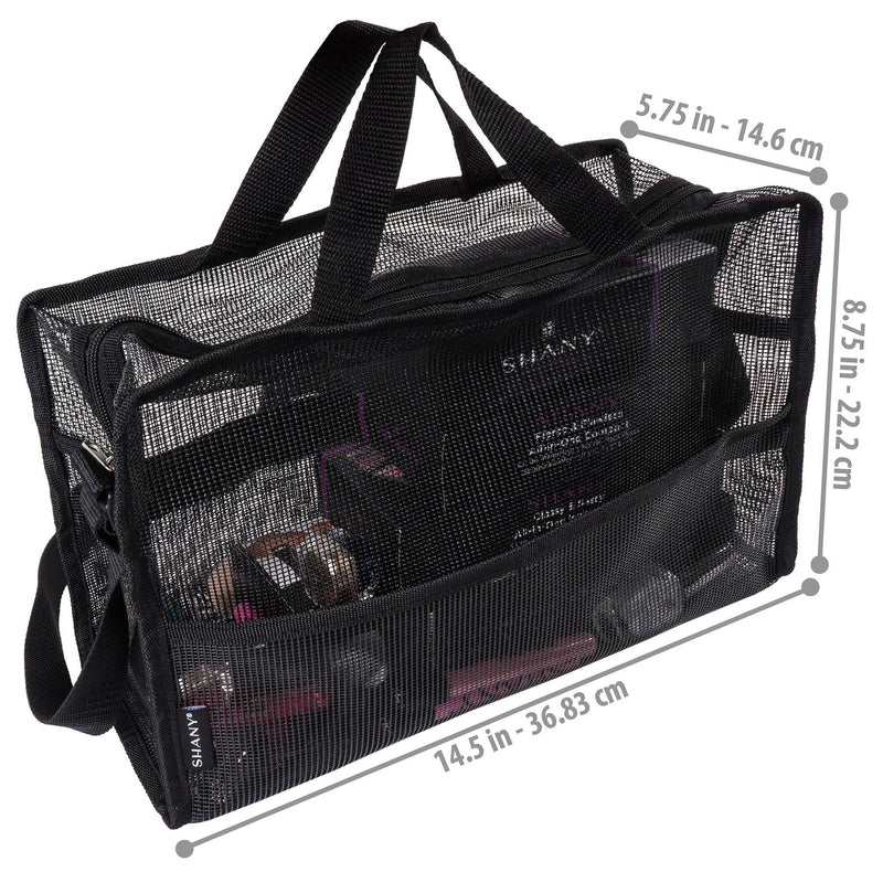 SHANY Collapsible Makeup Mesh Bag and Cosmetics Travel Tote with Pockets – Black -  - ITEM# SH-MB200-BK - Part of SHANY's new line of travel bags, the Collapsible Mesh Bag is a highly versatile cosmetics tote that is see-through and flexible, making it easy to group, view and carry cosmetics. Water-resistant, it a