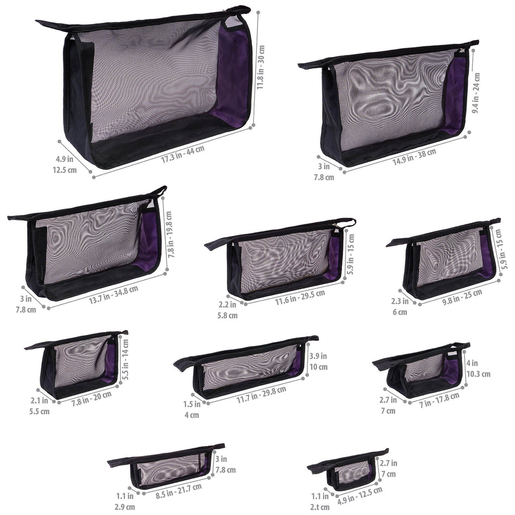 SHANY Black Mesh Travel Organizer Bag Set - 10 PC -  - ITEM# SH-MB500-BK - Cosmetic toiletry bag organizer pouch purse travel,Makeup women girls train case box storage holder,Kate spade victorias secret hello kitty lesportsac,Container handbag gadget zipper portable luggage,Large small hanging compartment professional kits - UPC# 700645933830
