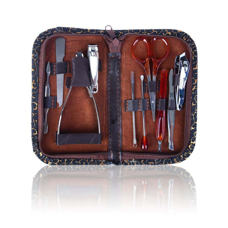 SHANY 10 in 1 Chic Manicure/Pedicure Kit with Brown Case - Steel - Burlesque - SHOP BROWN - MANICURE/PEDICURE - ITEM# SH-MPOO3
