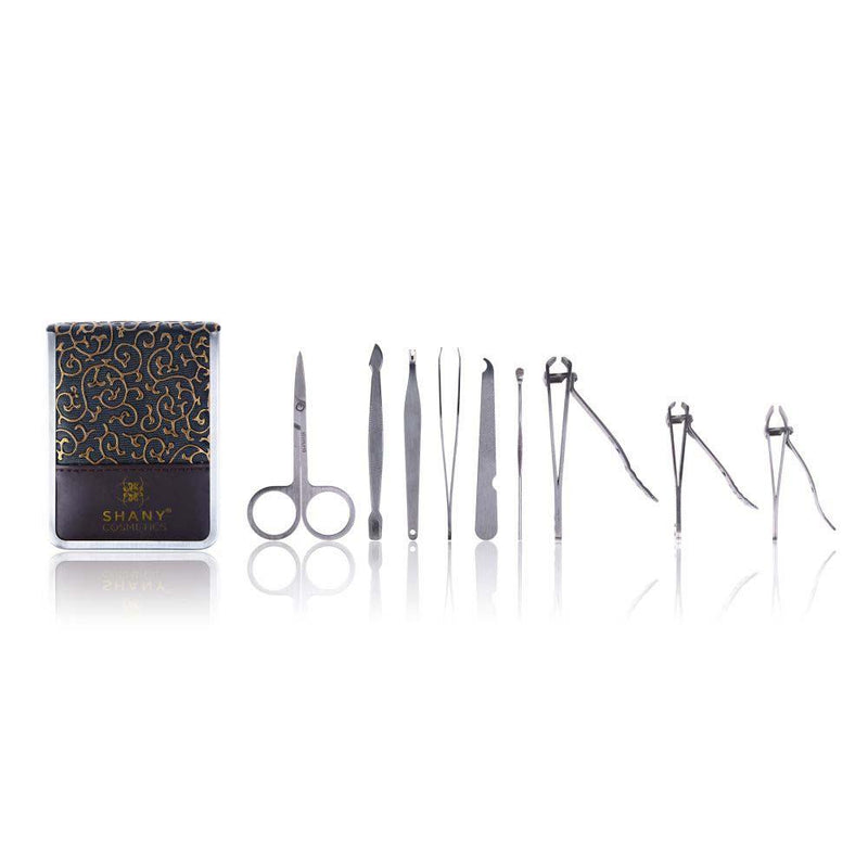 SHANY 9 in 1 Chic Manicure/Pedicure Kit with Gold/Brown Case - Stainless Steel - BLACK - ITEM# SH-MPOO6 - SHANY Cosmetics is a beauty brand that provides everyone with affordable high quality cosmetics. SHANY now offers a new collection of manicure/pedicure kits which includes the necessary tools needed to complete on