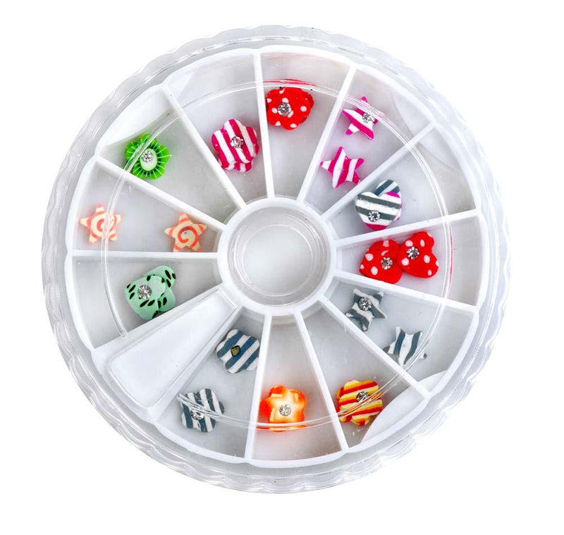 SHANY 3D DIY Large Nail Decoration Assorted 3D Shapes & More, Nail Wheel - Set#5 - SET5 - ITEM# SH-NAILART-SET05 - Get artistic with your nails with Shany Cosmetic Nail Art Sets! This set features a plastic container perfect for keeping everything together and in its place. The top of the wheel slides in a circle to o