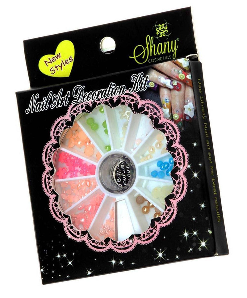 SHANY 3D DIY Large Nail Decoration Assorted 3D Pearls & More, Nail Wheel - Set#6 - SET6 - ITEM# SH-NAILART-SET06 - Get artistic with your nails with Shany Cosmetic Nail Art Sets! This set features a plastic container perfect for keeping everything together and in its place. The top of the wheel slides in a circle to o