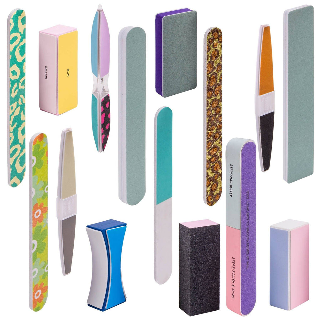 Assorted Nail Buffer Files Blocks Set - 15pcs Trendy Styles - SHANY