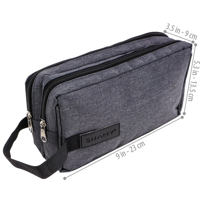 SHANY Travel Toiletry and Makeup Bag - GRAY -  - ITEM# SH-NT1002-GY - mens toiletry travel bag Canvas Vintage Dopp Kit,Travel makeup women girls train case box storage,Shaving Grooming bag storage bag toiletry bag TSA,Portable Shaving Bag gift for men him father son,Large small hanging compartment professional kits - UPC# 700645941774