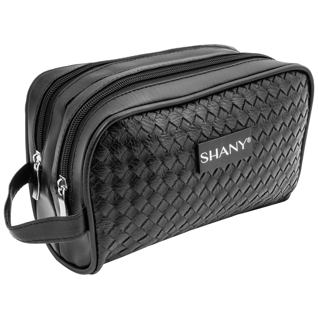 SHANY Woven Double-Pocket Toiletry Handbag – Faux Leather Portable Traveling Organizer with Two Zippered Compartments – Black - SHOP  - TRAVEL BAGS - ITEM# SH-NT1003-BK