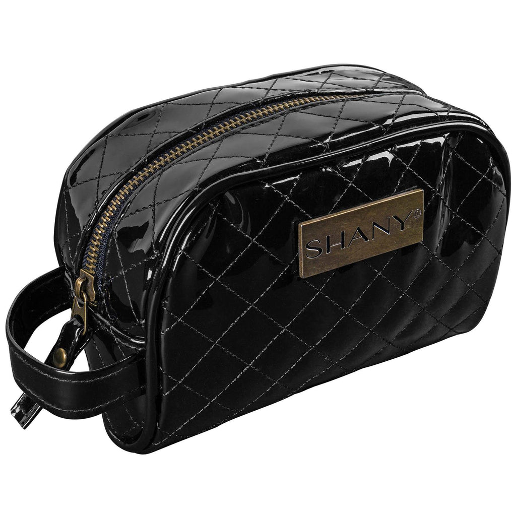 SHANY Quilted Travel Cosmetic Bag – Faux Patent Leather Zipper Organizer with Two Interior Pockets and Exterior Handle - BLACK - SHOP  - TRAVEL BAGS - ITEM# SH-NT1007-BK