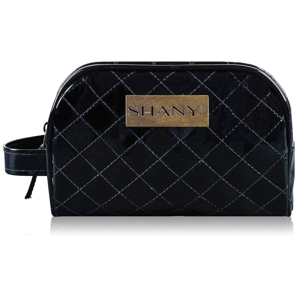 SHANY Quilted Faux Patent Leather Bag - Black -  - ITEM# SH-NT1007-BK - Makeup toiletry bag cosmetic organizer pouch purse,Travel makeup women girls train case box storage,Kate spade victorias secret hello kitty lesportsac,Container handbag gadget zipper portable luggage,Large small hanging compartment professional kits - UPC# 700645941736