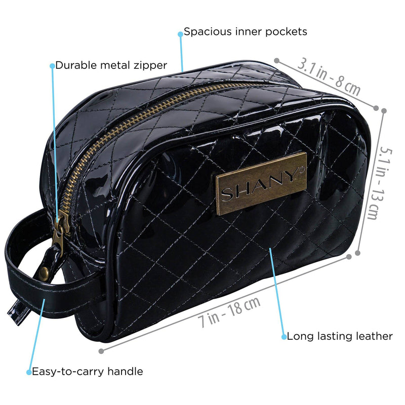 SHANY Quilted Faux Patent Leather Travel Cosmetic Bag with Handle - Black -  - ITEM# SH-NT1007-BK - From SHANY's new travel bag line, the Quilted Travel Cosmetic Bag in Black is a practical and stylish traveling necessity. Made with faux patent leather, this organizer handbag is the perfect traveling companion wit