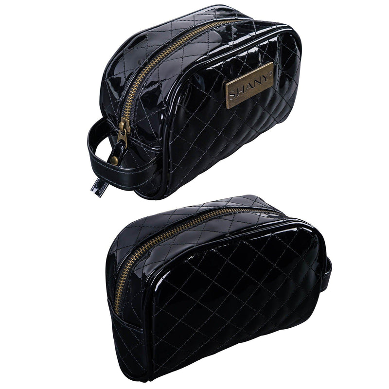 SHANY Quilted Faux Patent Leather Bag - Black -  - ITEM# SH-NT1007-BK - Best seller in cosmetics TRAVEL BAGS category