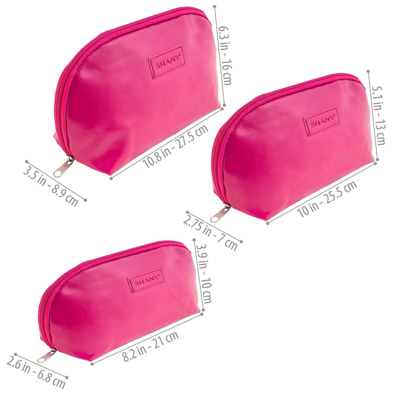 SHANY 3-in-1 Portable Faux Leather Zipper Cosmetic/Toiletry Bag Set - PINK -  - ITEM# SH-NT1009-PK - From SHANY's new travel bag line, the 3-in-1 Faux Leather Makeup Handbag Set in Pink is the cosmetic clutch bundle you've been looking for. Made with a soft pink vegan leather, this three piece set contains a l