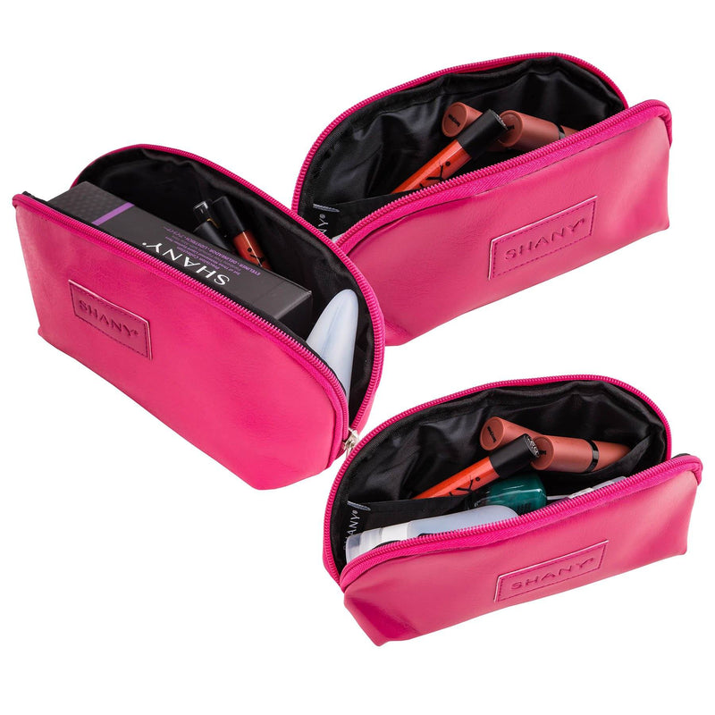 SHANY 3-in-1 Faux Leather Makeup Bag Set - PINK