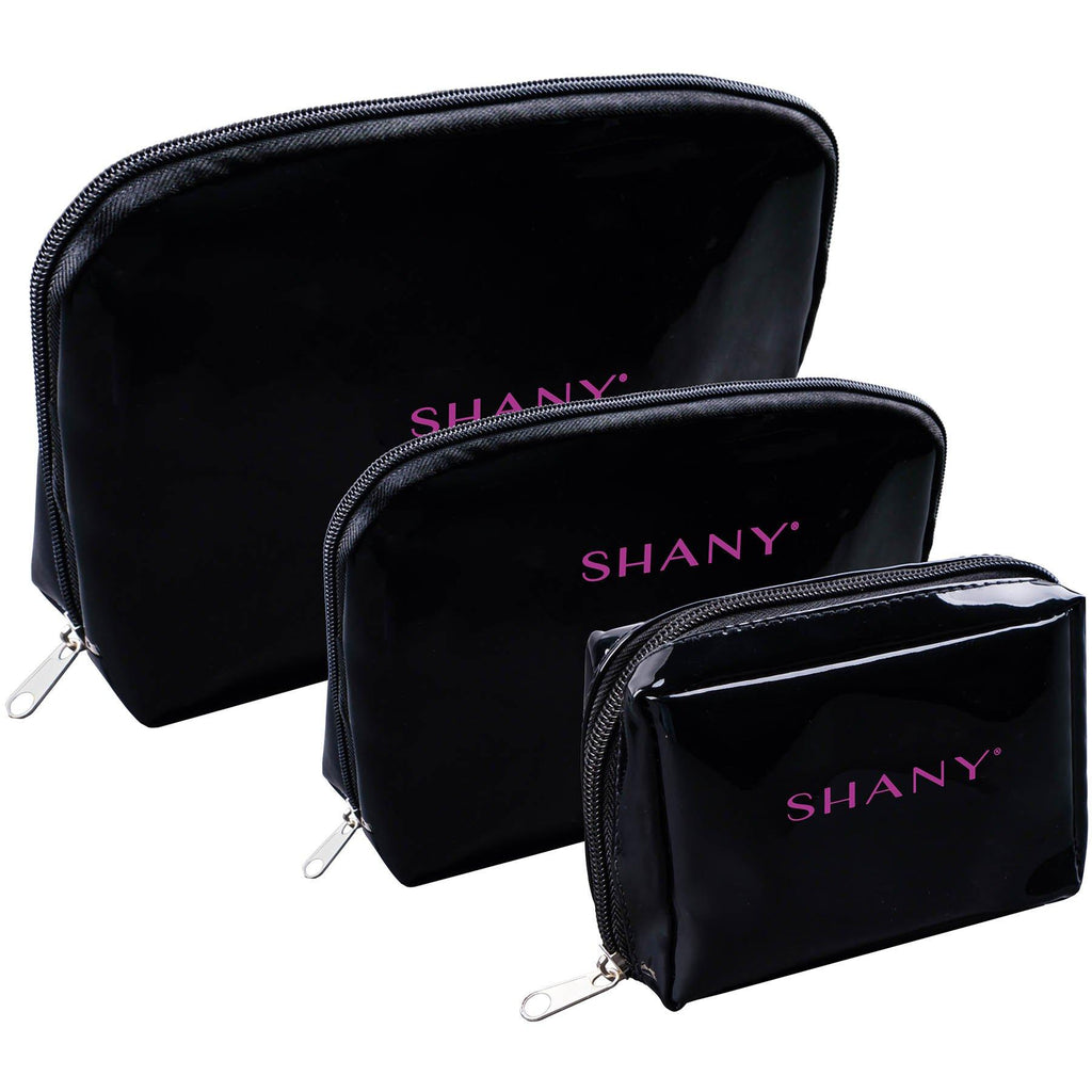 SHANY Black Faux Patent Leather Cosmetic Clutch Set - Three Portable and Waterproof Toiletry Bags with Internal Pockets and Black Nylon Interior - 3 PC - SHOP  - TRAVEL BAGS - ITEM# SH-NT1010-BK