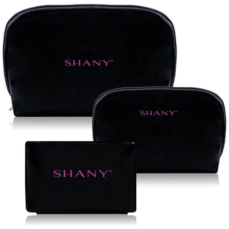 SHANY Black Faux Patent Leather Clutch Set - 3 PC -  - ITEM# SH-NT1010-BK - Cosmetic toiletry bag organizer pouch purse travel,Makeup women girls train case box storage holder,Kate spade victorias secret hello kitty lesportsac,Container handbag gadget zipper portable luggage,Large small hanging compartment professional kits - UPC# 700645933793