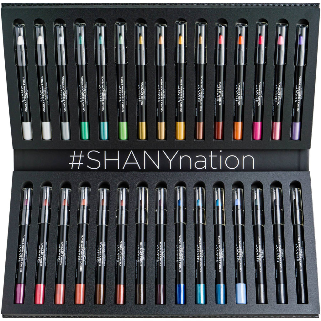 SHANY Multi-Use Chunky Pencils for Eye Shadow, Eyeliner, Lip Liner, Lipstick - W/ Vitamin E & Aloe Vera - Set of 30 Colors - SHOP  - EYELINER - ITEM# SH-P003