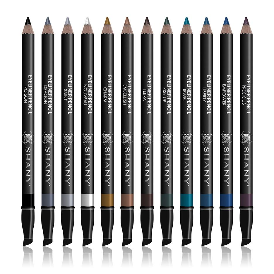 Slim Eye Liner Pencil Set with Vitamin E and Aloe Vera - 12 Shades - With Storage - SHANY