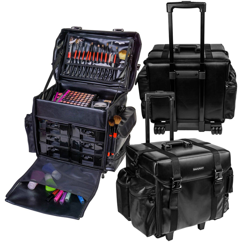 "SHANY Makeup Artist Soft Rolling Trolley Cosmetic Case with Free Set of Mesh Bag - HEAD TURNER - ITEM# SH-P40-BK - <span><span style=""color: black;""><span style=""font-family: arial,sans-serif;""><span style=""font-size: 9pt;"">Do you want to have luxury and durability at work or home? You can find it right here! The SHAN"