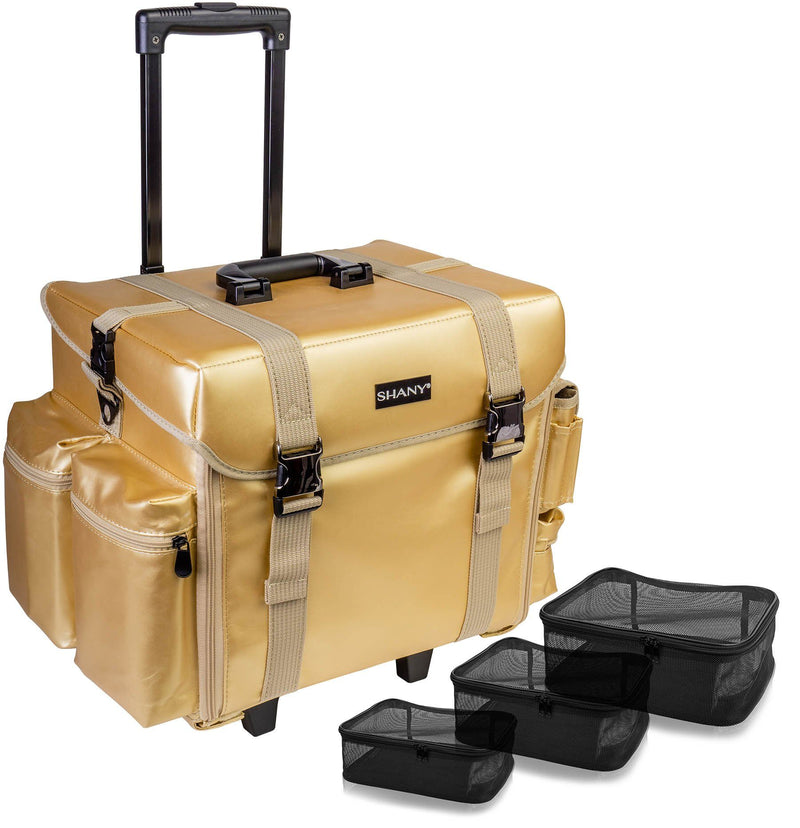 SHANY Makeup Artist Soft Rolling Trolley Cosmetic Case with Free Set of Mesh Bags - Gold Medal - SHOP GOLD MEDAL - ROLLING MAKEUP CASES - ITEM# SH-P40-GL
