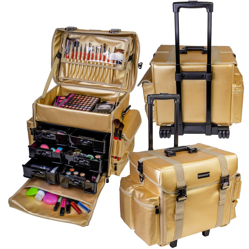 "SHANY Makeup Artist Soft Rolling Trolley Cosmetic Case with Free Set of Mesh Bag - GOLD MEDAL - ITEM# SH-P40-GL - <span><span style=""color: black;""><span style=""font-family: arial,sans-serif;""><span style=""font-size: 9pt;"">Do you want to have luxury and durability at work or home? You can find it right here! The SHANY"