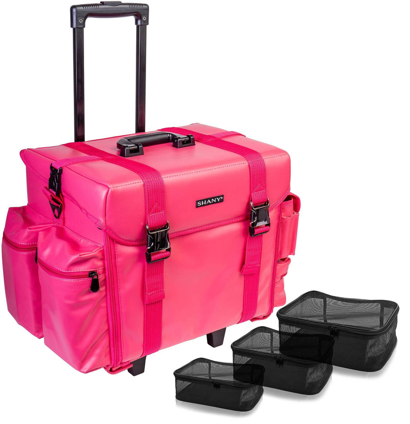 SHANY Makeup Artist Soft Rolling Trolley Cosmetic Case with Free Set of Mesh Bags - Sweetheart - SHOP SWEETHEART - ROLLING MAKEUP CASES - ITEM# SH-P40-PK