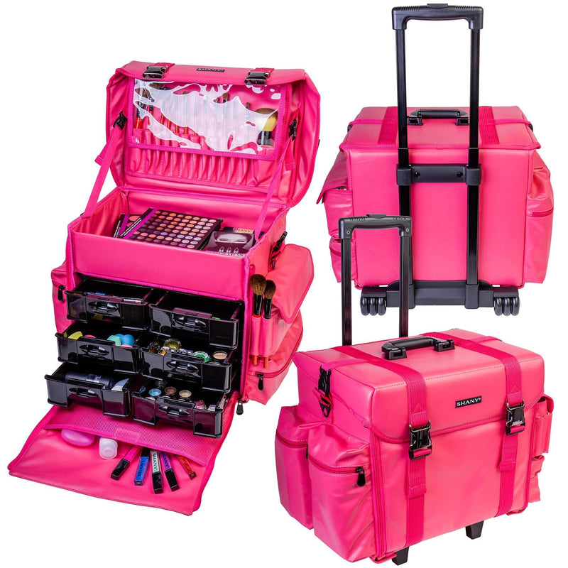 "SHANY Makeup Artist Soft Rolling Trolley Cosmetic Case with Free Set of Mesh Bag - SWEETHEART - ITEM# SH-P40-PK - <span><span style=""color: black;""><span style=""font-family: arial,sans-serif;""><span style=""font-size: 9pt;"">Do you want to have luxury and durability at work or home? You can find it right here! The SHANY"