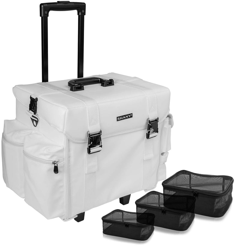 SHANY Makeup Artist Soft Rolling Trolley Cosmetic Case with Free Set of Mesh Bags - Frozen Yogurt - SHOP FROZEN YOGURT - ROLLING MAKEUP CASES - ITEM# SH-P40-WH