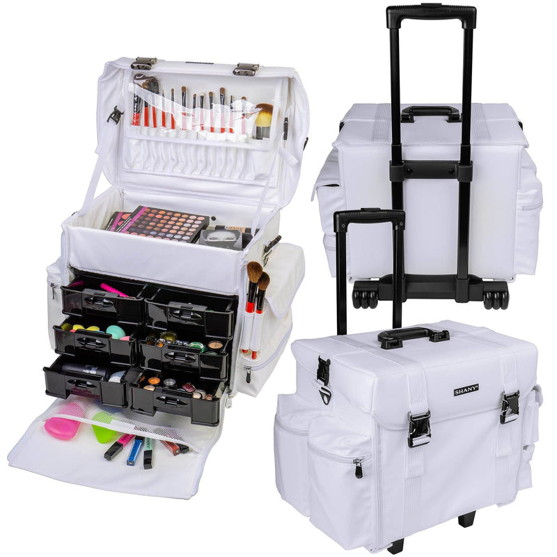 "SHANY Makeup Artist Soft Rolling Trolley Cosmetic Case with Free Set of Mesh Bag - FROZEN YOGURT - ITEM# SH-P40-WH - <span><span style=""color: black;""><span style=""font-family: arial,sans-serif;""><span style=""font-size: 9pt;"">Do you want to have luxury and durability at work or home? You can find it right here! The SH"