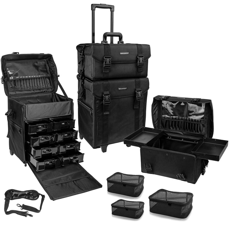 SHANY Soft Makeup Artist Rolling Trolley Cosmetic Case with Free Set of Mesh Bags - Jet Black - SHOP JET BLACK - ROLLING MAKEUP CASES - ITEM# SH-P50-BK