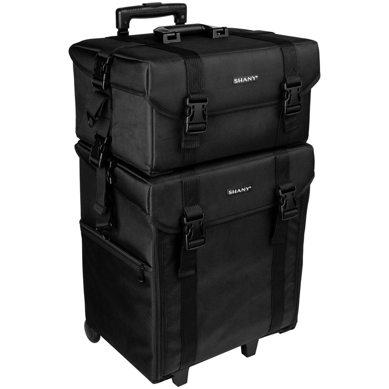 SHANY Soft Trolley Case - Jet Black - JET BLACK - ITEM# SH-P50-BK - Rolling cosmetics cases Makeup Case with wheels,Cosmetics trolley makeup artist case storage bag,Seya just case aluminum makeup case display set,professional makeup organizer gift idea Makeup bag,portable makeup carry on cosmetics organizer light - UPC# 723175176508