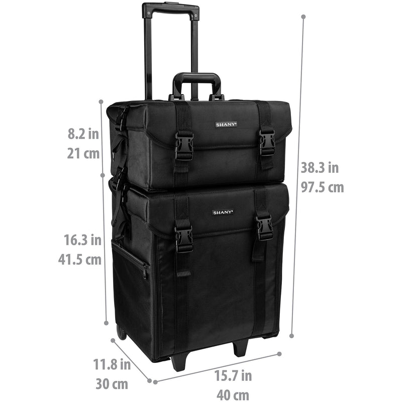SHANY Soft Trolley Case - Jet Black - JET BLACK - ITEM# SH-P50-BK - Best seller in cosmetics ROLLING MAKEUP CASES category