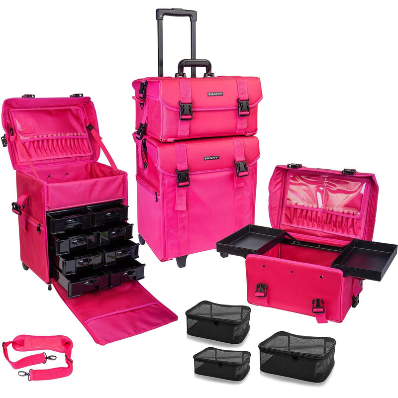 SHANY Soft Makeup Artist Rolling Trolley Cosmetic Case with Free Set of Mesh Bags, Summer Orchid - SHOP SUMMER ORCHID - ROLLING MAKEUP CASES - ITEM# SH-P50-PK