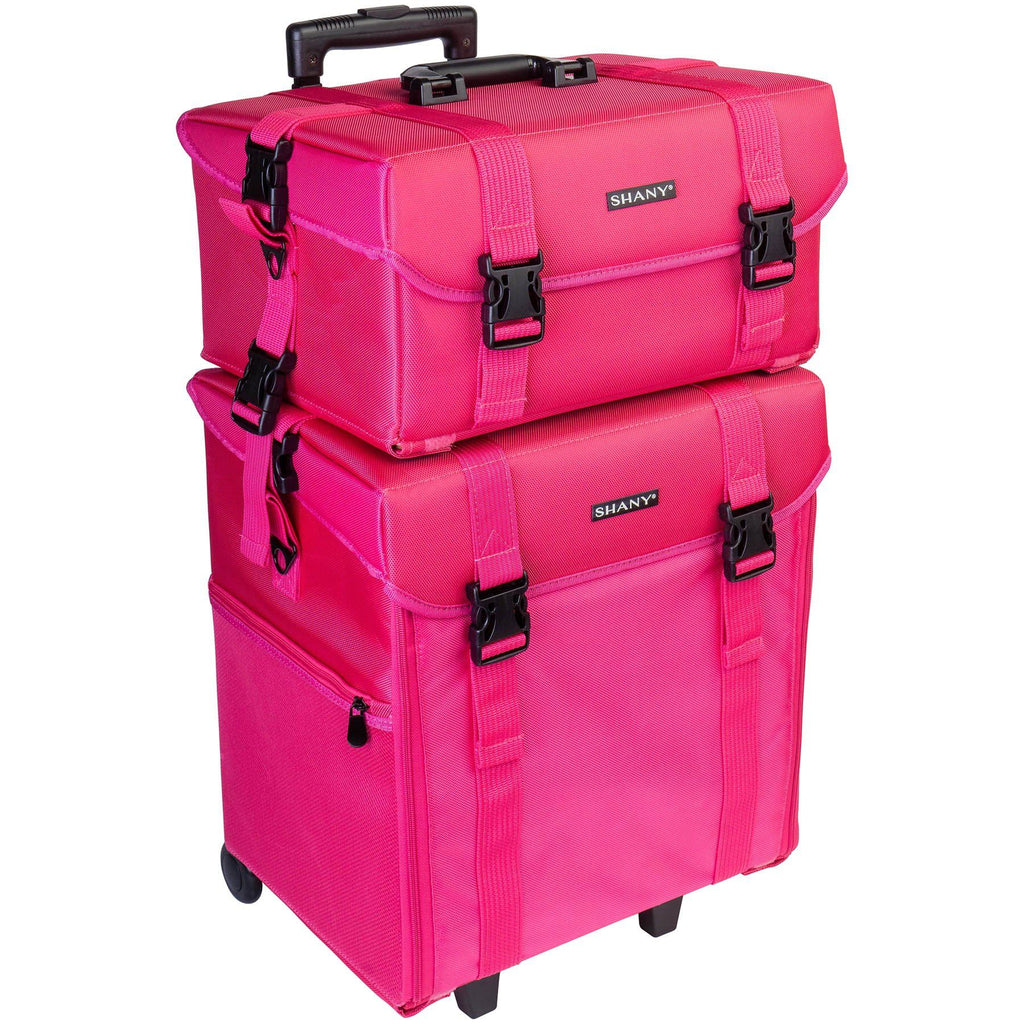 SHANY Makeup Soft Trolley Case - PINK - ITEM# SH-P50-PARENT - Makeup train cases bag organizer storage women kit,Professional large mini travel rolling toiletry,Joligrace ollieroo seya soho cosmetics holder box,Salon brush artist high quality water resistant,Portable carry trolley lipstic luggage lock key - UPC# 616450441296