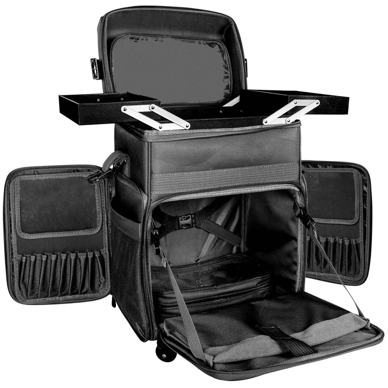SHANY Soft Rolling Makeup Trolley Case - BLACK - BLACK - ITEM# SH-P80-BK - Rolling cosmetics cases Makeup Case with wheels,Cosmetics trolley makeup artist case storage bag,Seya just case aluminum makeup case display set,professional makeup organizer gift idea Makeup bag,portable makeup carry on cosmetics organizer light - UPC# 616450438722