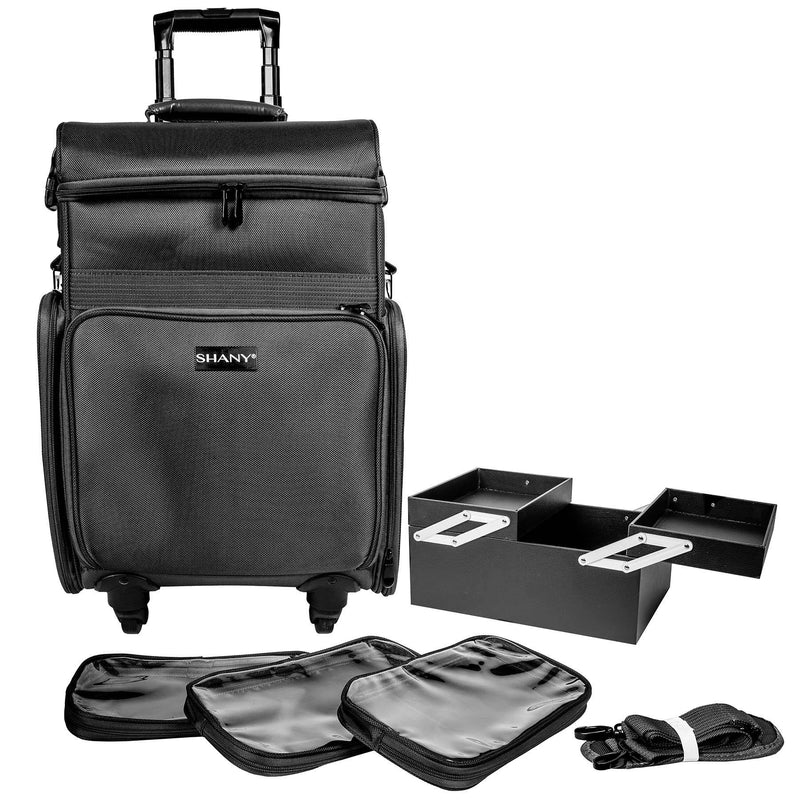SHANY Soft Rolling Makeup Trolley Case - Multiple Compartments - BLACK - BLACK - ITEM# SH-P80-BK - SHANY Soft Rolling Makeup Trolley Case with multiple compartments is made from durable fabric and can handle extreme weather all year long. This traveling makeup case measures 22 x 12 x 15 inches. The ergonomic handle an