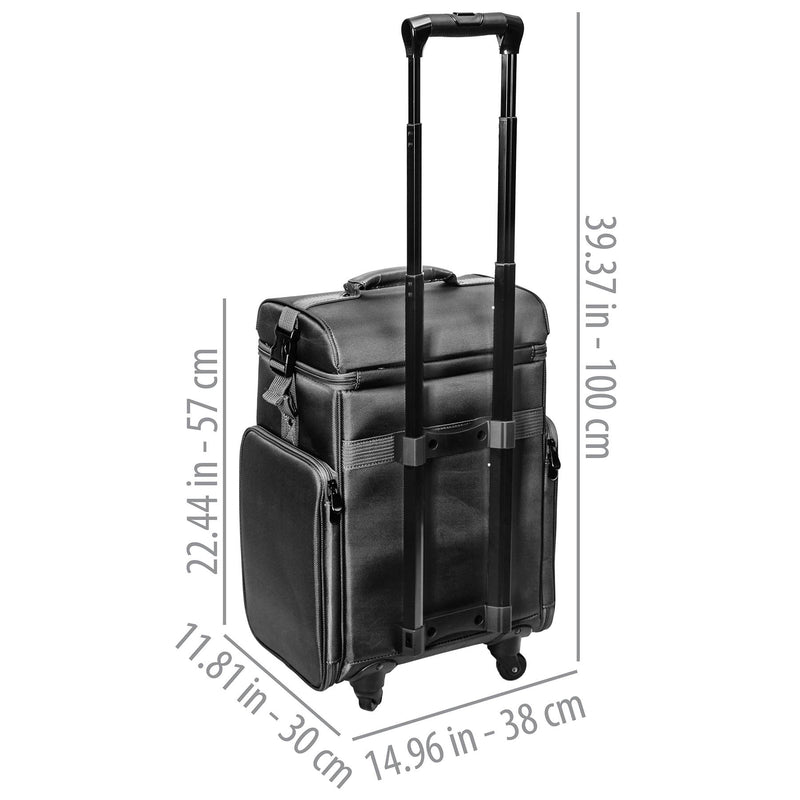 SHANY Soft Rolling Makeup Trolley Case - BLACK - BLACK - ITEM# SH-P80-BK - Best seller in cosmetics ROLLING MAKEUP CASES category
