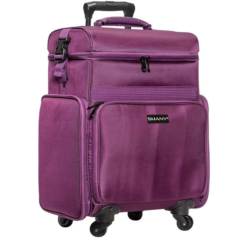SHANY Soft Rolling Makeup Trolley Case - Multi Compartment with Laptop/iPad Holder - Set of 3 Free Cosmetic Organizers - 360 Wheels - PURPLE - SHOP PURPLE - ROLLING MAKEUP CASES - ITEM# SH-P80-PR