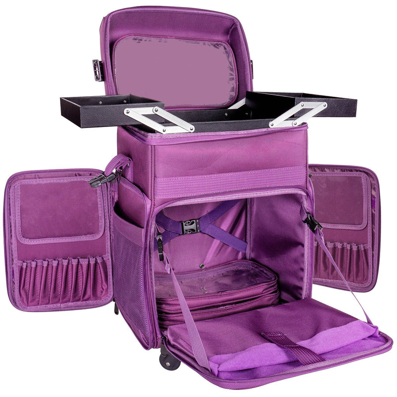 SHANY Soft Rolling Makeup Trolley Case - PURPLE - PURPLE - ITEM# SH-P80-PR - Rolling cosmetics cases Makeup Case with wheels,Cosmetics trolley makeup artist case storage bag,Seya just case aluminum makeup case display set,professional makeup organizer gift idea Makeup bag,portable makeup carry on cosmetics organizer light - UPC# 616450438739