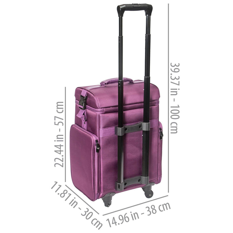 SHANY Soft Rolling Makeup Trolley Case - PURPLE - PURPLE - ITEM# SH-P80-PR - Best seller in cosmetics ROLLING MAKEUP CASES category