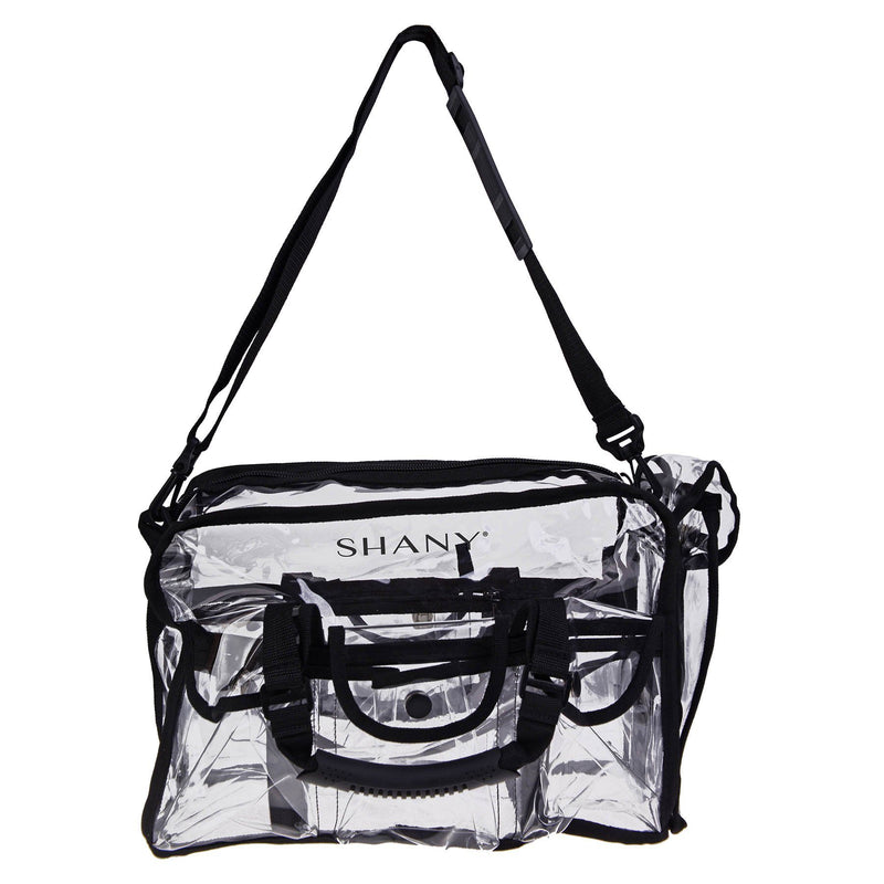 Clear Makeup Bag, Pro Mua rectangular Bag with Shoulder Strap, Large - BLACK - ITEM# SH-PC01BK - This bag is designed to carry all that the professional makeup artist and hair stylist tools while on the set. This bag is a clear design for fast and easy accessibility. Convenient flip top pockets, spacious compartment a