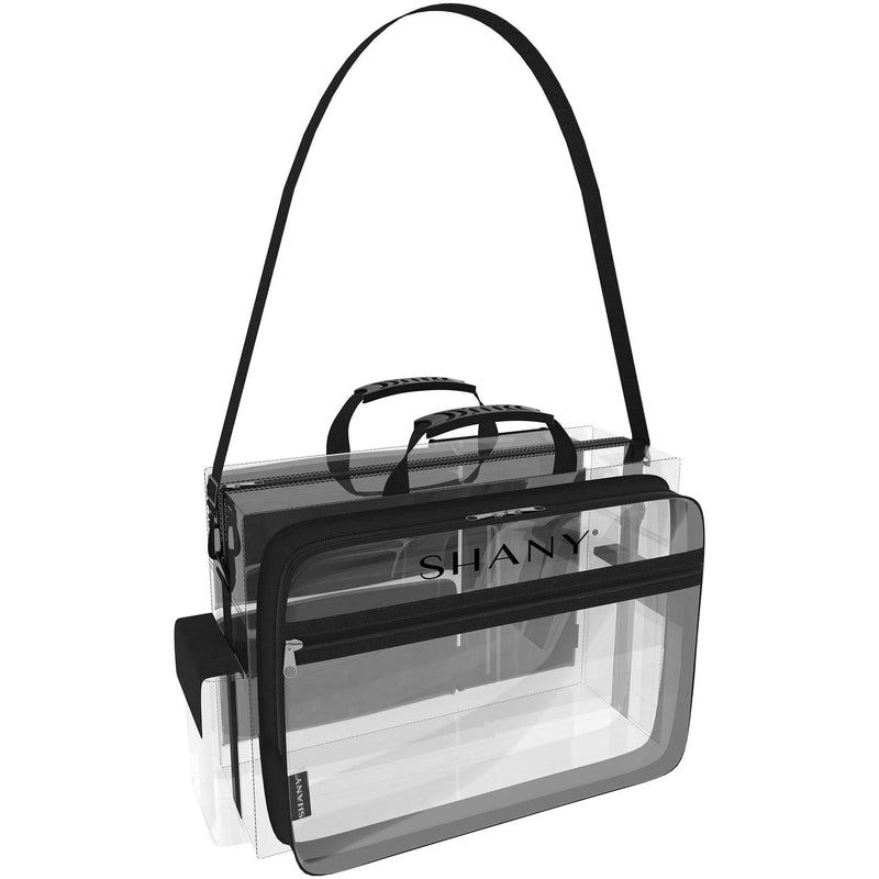 SHANY Traveling Makeup Artist Bag with Removable Compartments – Clear/Black -  - ITEM# SH-PC13-BK - Part of SHANY's new line of travel bags, the Traveling Makeup Artist Bag is an ideal solution for the jet setting beauty professional. The see-through bag is water-resistant and made with nontoxic PVC, which means i